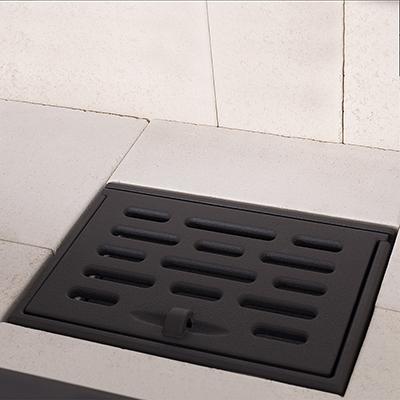 grille foyère en fonte sur cendrier inox par romotop