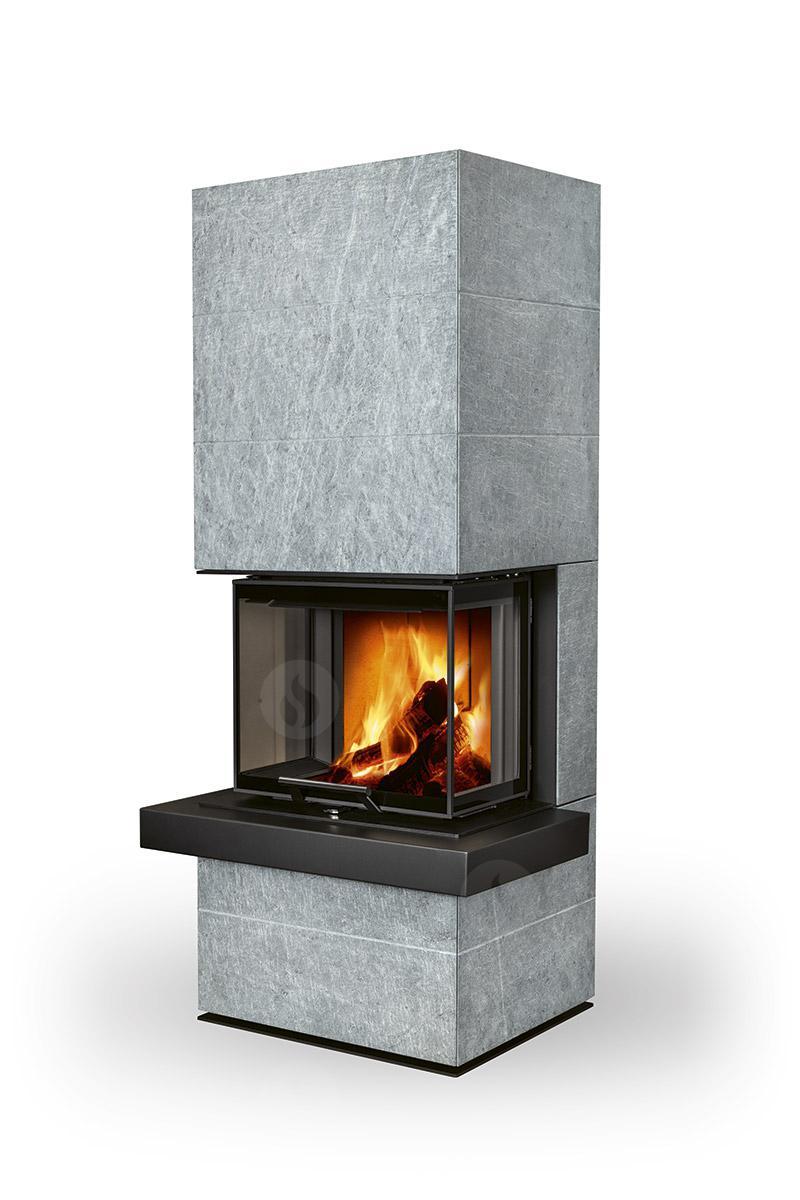 Poele cheminee a bois cara cs en pierre serpentine par romotop