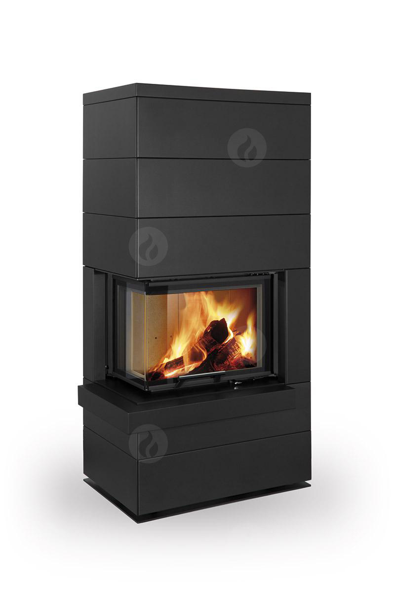 poele cheminee a bois en acier cara angle gauche par romotop